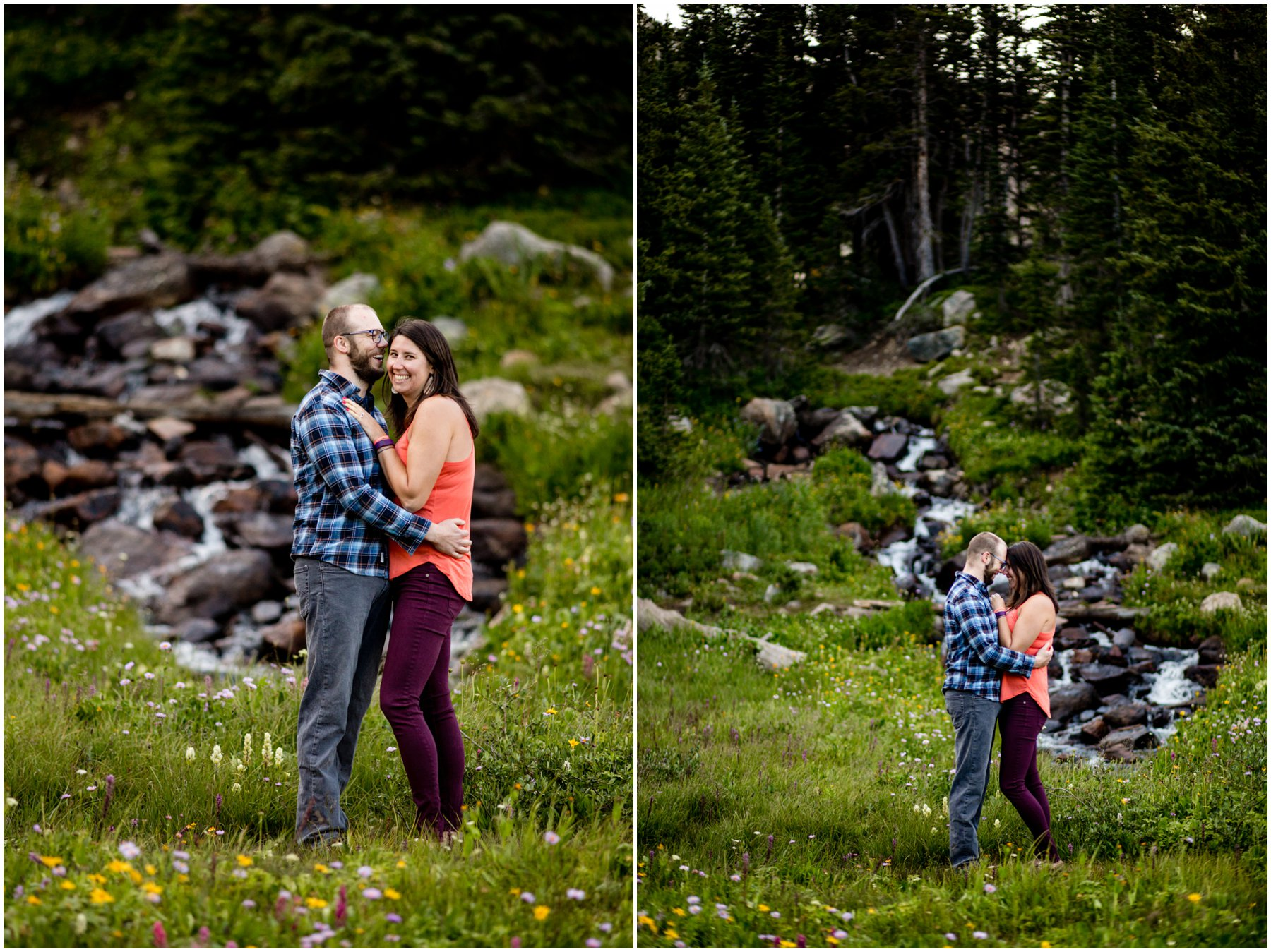 Hiking in Wildflowers Engagement Photography