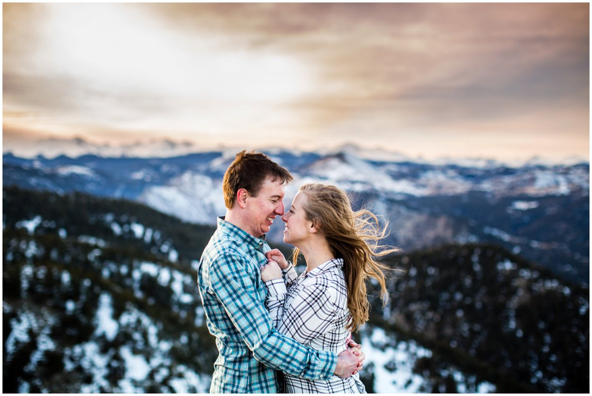 Snowy Mountain Engagement Photography