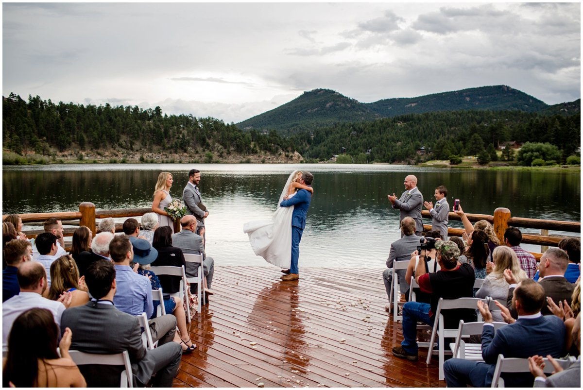 Evergreen Lake House Wedding Ceremony Kiss